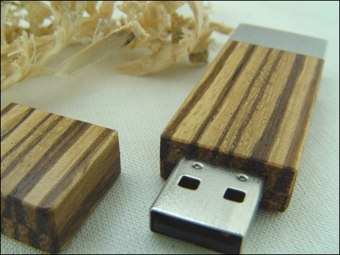 USB-Stick 'Square' of Zebrawood